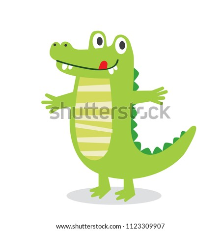 cute crocodile with white