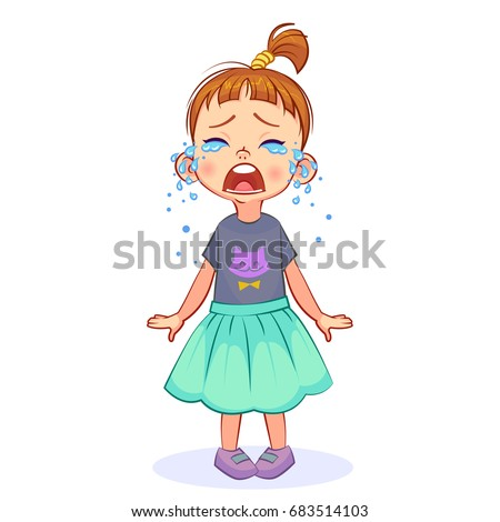 Cute crybaby girl stands and sheds tears, wide-open mouth. Vector cutout kids art. ストックフォト ©