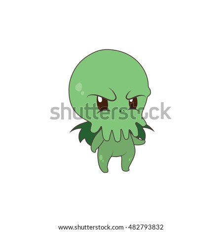 cute cthulhu being mad