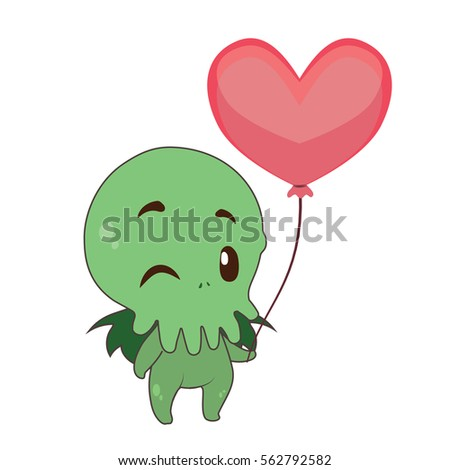 cute cthulhu holding a heart