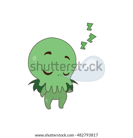 cute cthulhu sleeping