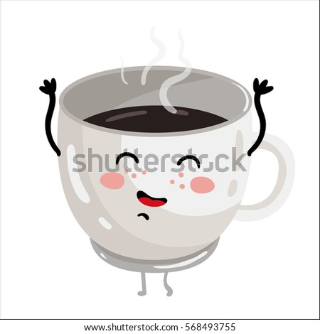 cute cup of coffee cartoon