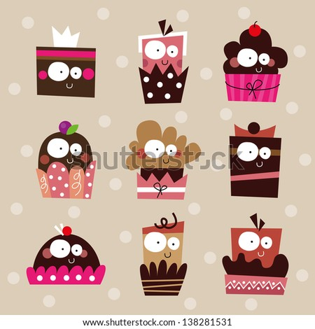Cake Decoration Cartoon : Cute Cupcake Set, Birthday Cakes Collection With ...