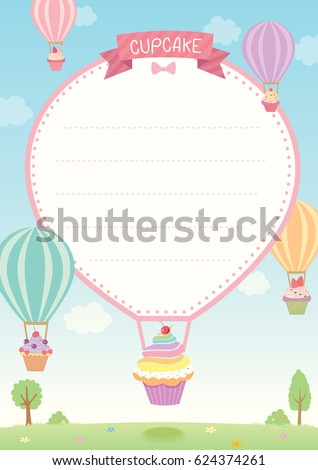 Cute cupcakes decorated with hot air balloon flying on sky background design for menu and template.