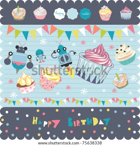 Cute Cupcakes For Boys Birthday http://www.shutterstock.com/pic-75638338/stock-vector-cute-cupcakes-doodles-with-robots-best-for-birthday-boy.html