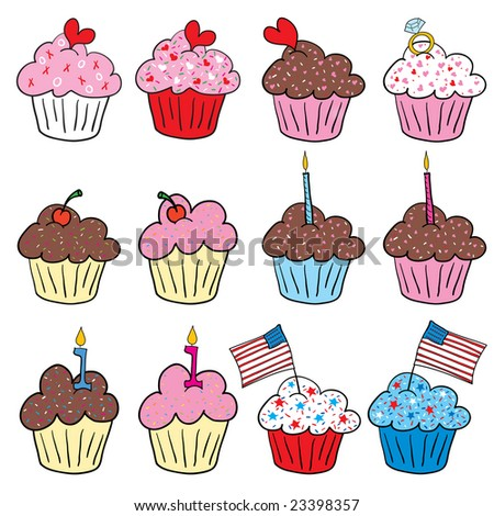 Cute Cupcakes with hearts, diamond ring, candle and American Flag