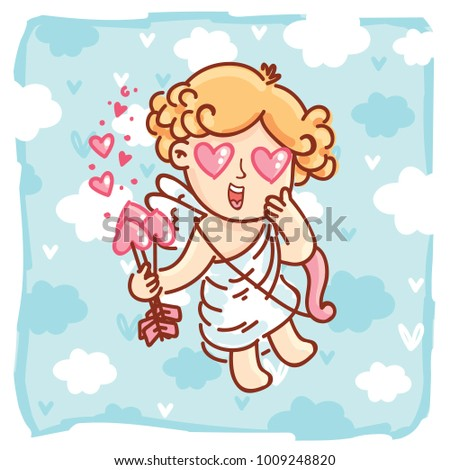 Cute Cupid Baby Angel Character With Wings Bow And Arrow On Blue Clouds Background