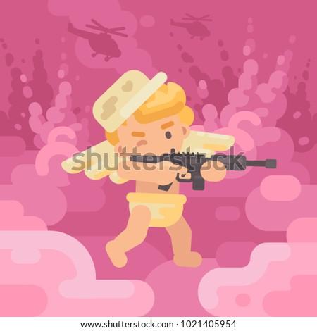 cute cupid in a military cap