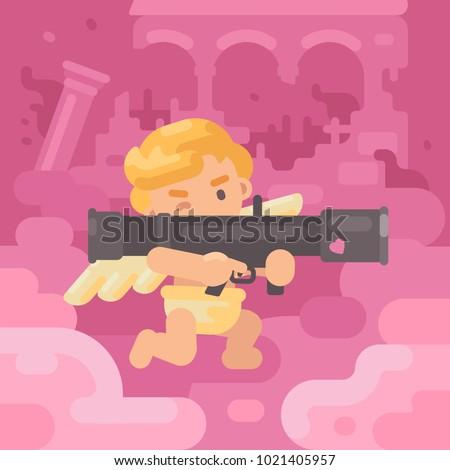 cute cupid shooting a bazooka
