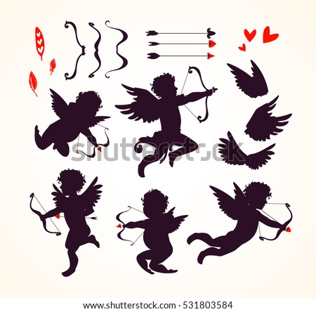 Shutterstock Cute Cupids and amour angels with hearts, arrows, bows, wings, feathers. Silhouette set for Happy Valentines day decorations, separated editable elements. Hand drawn vector illustration.