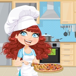 Cute curly hair girl chef offers a taste of pizza in interior light classic wood kitchen with blue tiles