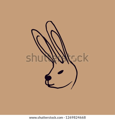 cute, cute, cute cute rabbit vector illustration, hand drawn rabbit face. Ears and tiny muzzle . Isolated on white background.
