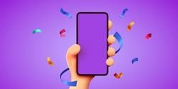 Cute 3D cartoon hand holding mobile smart phone with celebratory confetti flying around. Winner concept. Modern mockup. Vector illustration