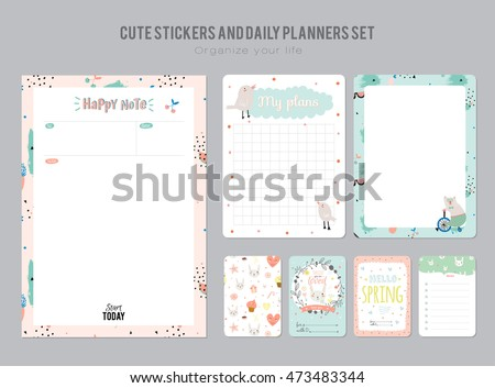 Cute Daily Planner Template Note Paper And Stickers Set With Funny Illustrations Background Good