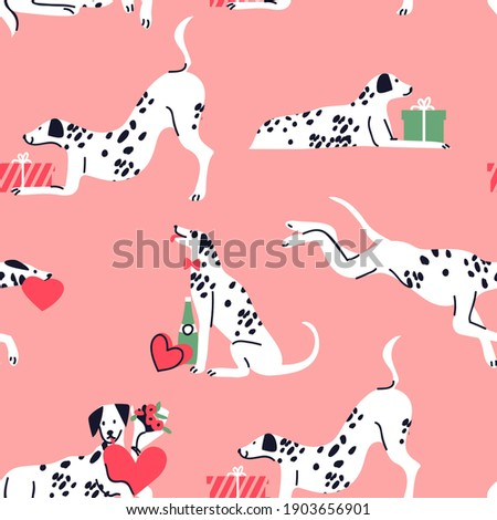 Cute dalmatian dog cartoon seamless pattern. Puppy with valentines day gifts, hand drawn doodle background for holiday print or love concept. Adorable pet friend backdrop design.