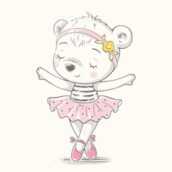 Cute dancing bear ballerina cartoon hand drawn vector illustration. Can be used for t-shirt print, kids wear fashion design, baby shower invitation card.