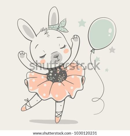 cute dancing bunny ballerina
