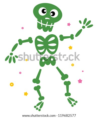 Cute dancing green skeleton isolated on white
