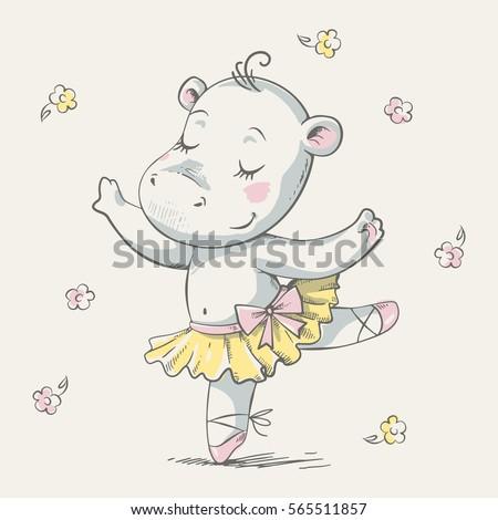 Cute dancing hippo ballerina cartoon hand drawn vector illustration. Can be used for t-shirt print, kids wear fashion design, baby shower invitation card.