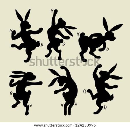 cute dancing rabbit silhouette