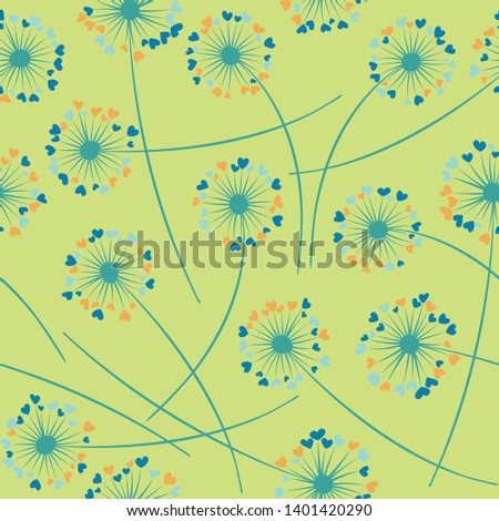 Cute dandelion blowing vector floral seamless pattern. Cute flowers with heart shaped fluff flying. Vector dandelion herbs meadow flowers floral background. Hearts love symbols meadow blossom.