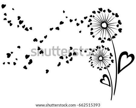 Cute dandelion flowers summer vector card. Heart shaped feather fluff, leaves, abstract flying petals.  Meadow blow ball romantic feelings illustration for banner, print. Love symbols design.