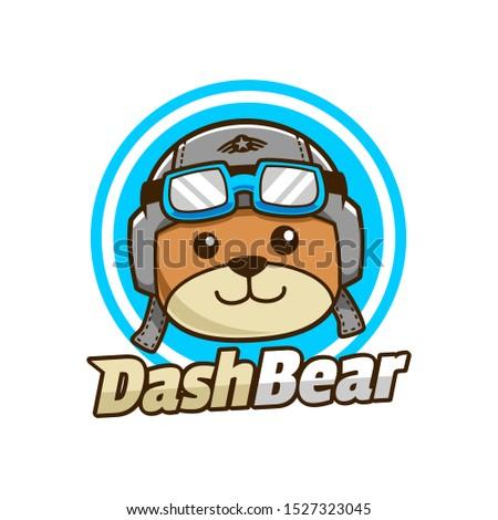 cute Dash Bear ready to Fly logo design