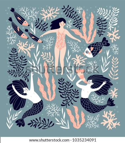 Cute decorative background with mermaids and swimming girl in the sea. Hand drawn vector illustration. Underwater card design.