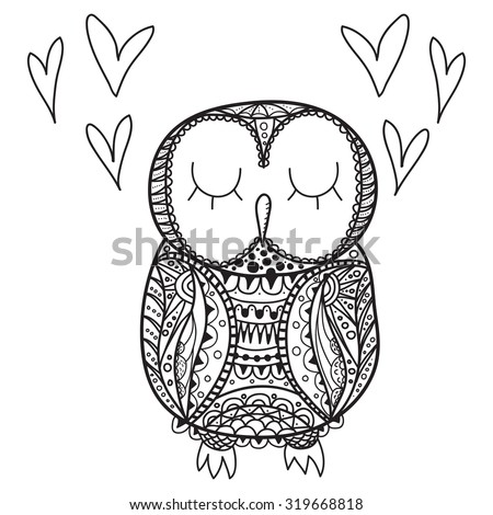 Cute decorative ornamental Owl fall in love. vector doodle illustration