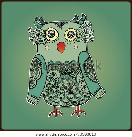 Cute Decorative Owl,  vector illustration. Lacy bird.