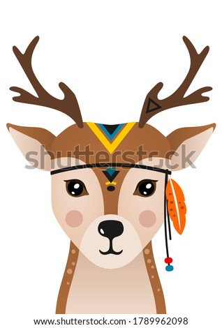 Cute deer have headdress with feathers on head. Woodland forest animal. Cartoon apache deer. Design can be used for kids apparel, greeting card, invitation, baby shower. Vector illustration.