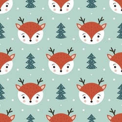 Cute deer seamless pattern. Christmas and New Year background. Winter seamless pattern with funny woodland forest reindeer, Christmas trees and snow. Blue background. Cartoon vector illustration