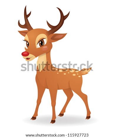 Cute deer standing isolated on white.