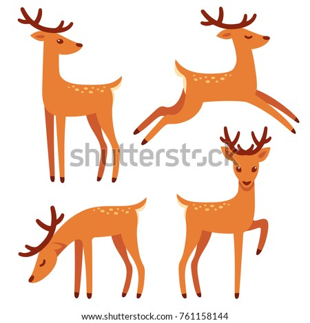 Cute deer with antlers, vector illustration set. Standing, jumping and grazing. Cartoon style drawing