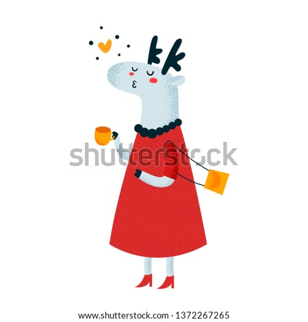 Cute deer with cup of c. Cartoon animal character illustration. Scandinavian illustration. Flat Illustration for kids game, book, t-shirt, card, print, poster, decoration and textile