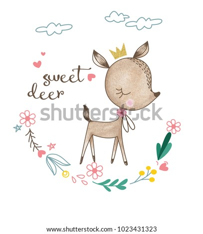 cute deer with flowers and heart vector for t-shirt print