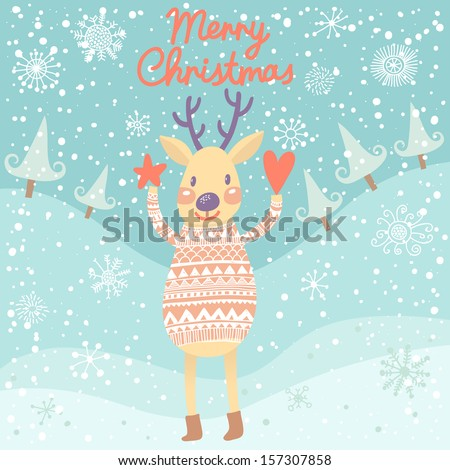 cute deer with heart and star
