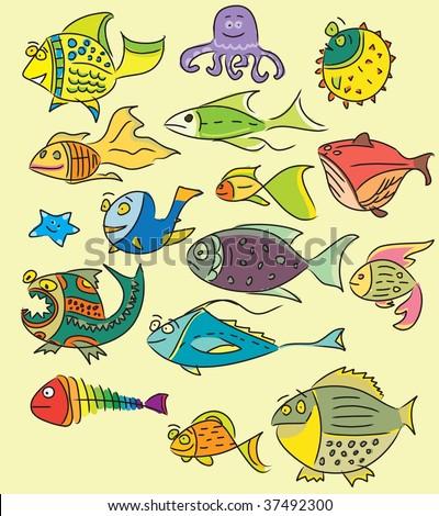 Cute design - child fish vector