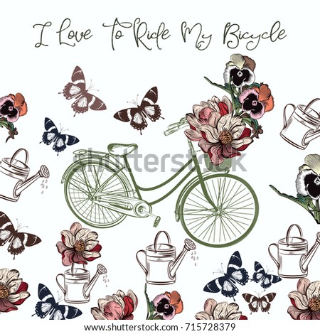 Cute design with bicycle and flowers. I love to ride my bicycle