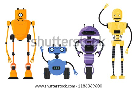 cute detailed robot set vector