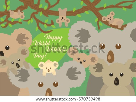 Cute different koalas sitting in the forest around big green leaf with message of World Wildlife Day. Can be used as greeting card or banner template. Vector illustration.