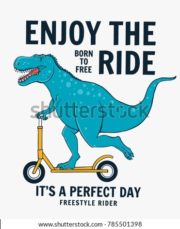 Cute dinasaur riding scooter. Vector illustration for t-shirt and other uses.