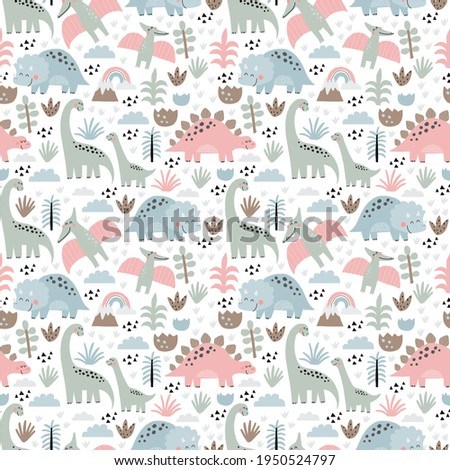 Cute dino Mom and Baby. Cartoon illustration dinosaur family. Vector seamless pattern with cute dino in scandinavian style