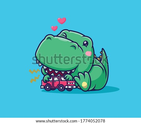 Cute dino playing mobile car. watercolor illustration.