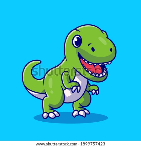 Cute Dino Smiling Cartoon Vector Icon Illustration. Animal Wildlife Icon Concept Isolated Premium Vector. Flat Cartoon Style