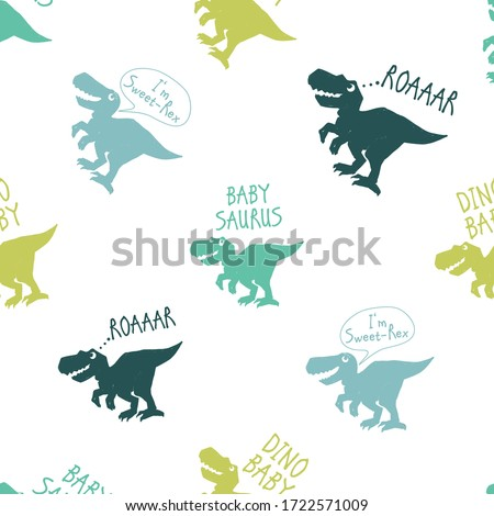 Cute dinosaur doodle seamless with roar dino, baby saurus, sweet dino baby, dino baby. Funny Dino collection. Textile design for baby boy on white background. Cartoon monster vector illustration.