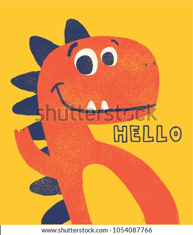 cute dinosaur drawn as vector with grunge texture for kids fashion Stock foto ©