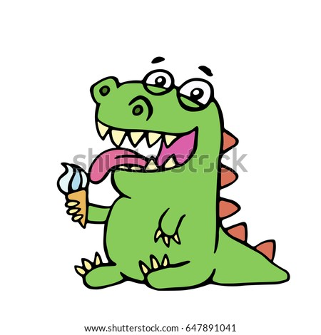 cute dinosaur eating ice cream