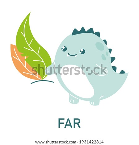 Cute dinosaur far from the leaves, learning preposition vector isolated. Preschool education, study position of the object. Funny dino standing far away from plants. Foto d'archivio ©