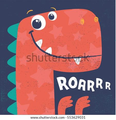cute dinosaur head vector